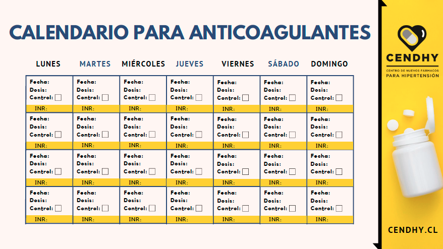 calendario para anticoagulantes